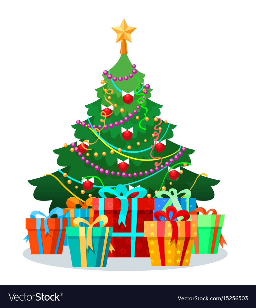 Christmas tree with bulbs and gifts Royalty Free Vector