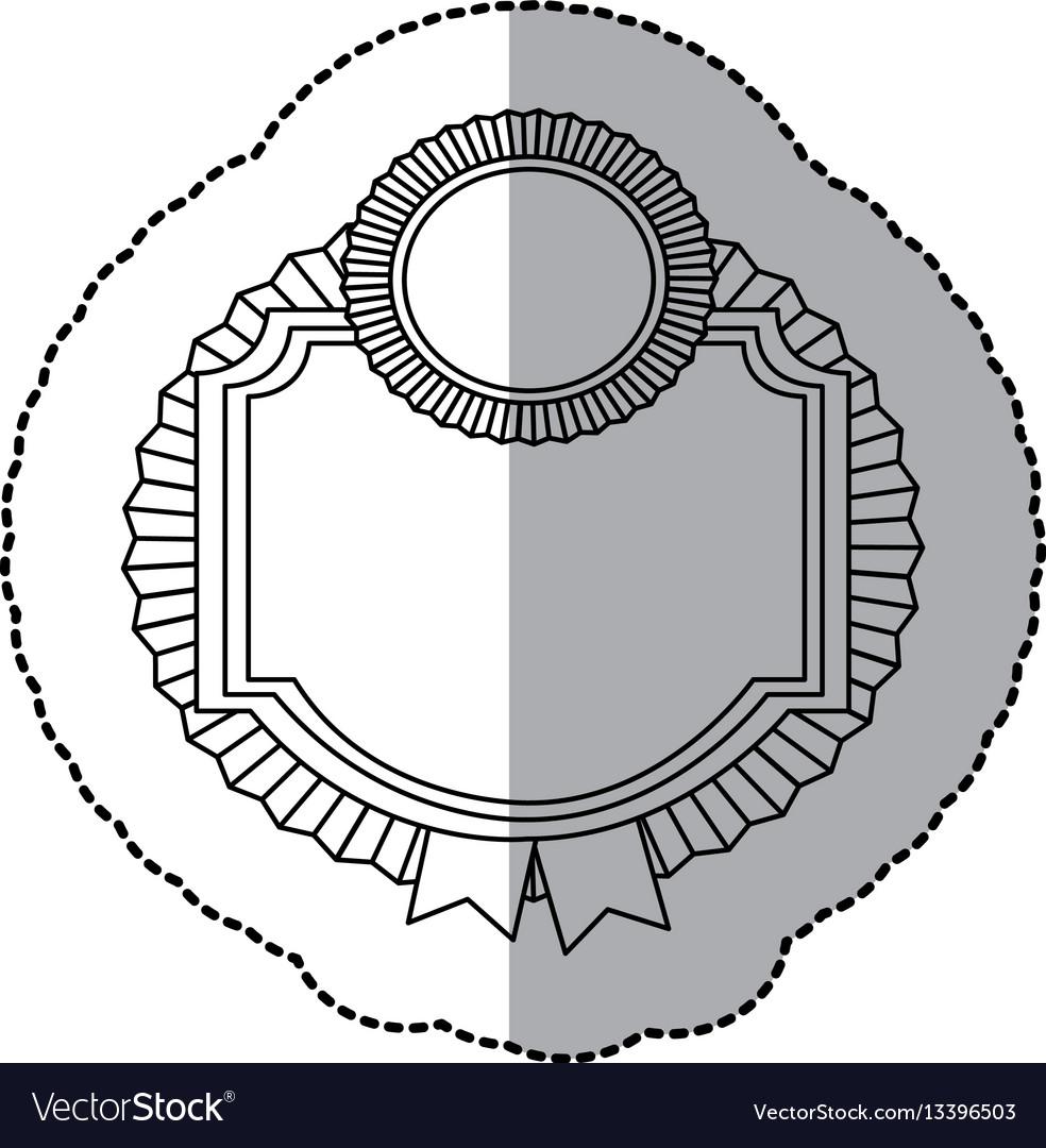 Contour emblem border form with ribbon icon