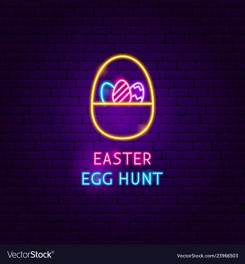 Easter egg hunt neon label
