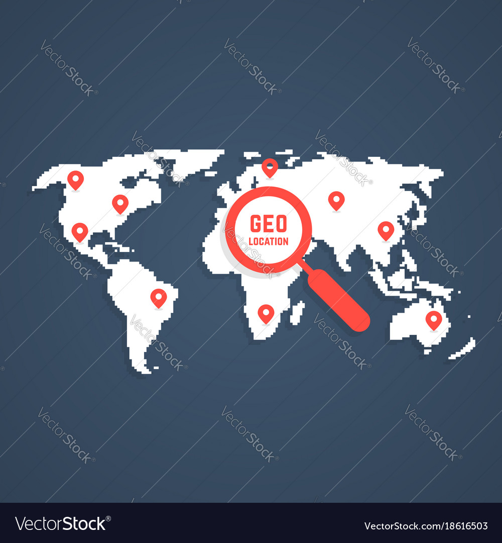 Geo location with pixel art world map royalty free vector geo location with pixel art world map vector image gumiabroncs Choice Image
