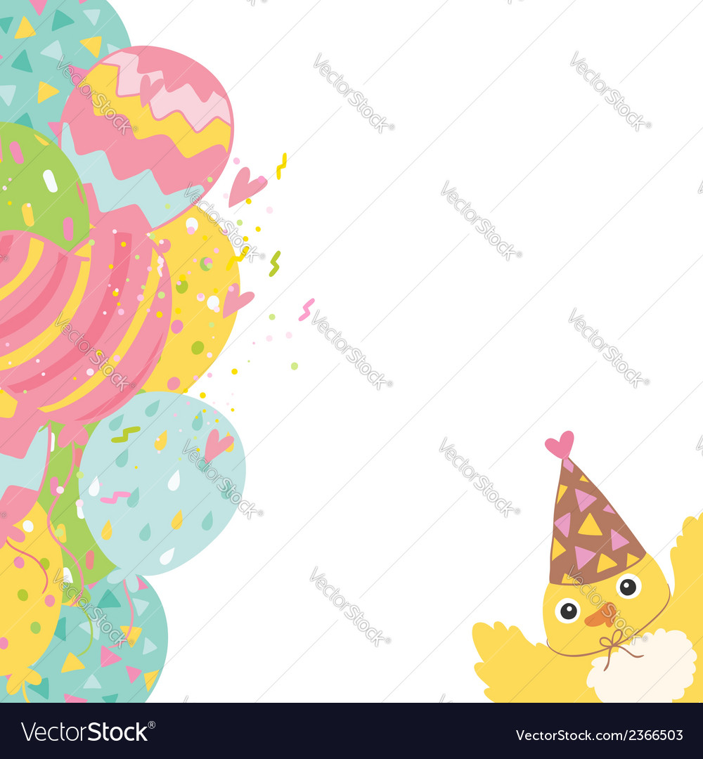 Happy Birthday background with balloons and bird