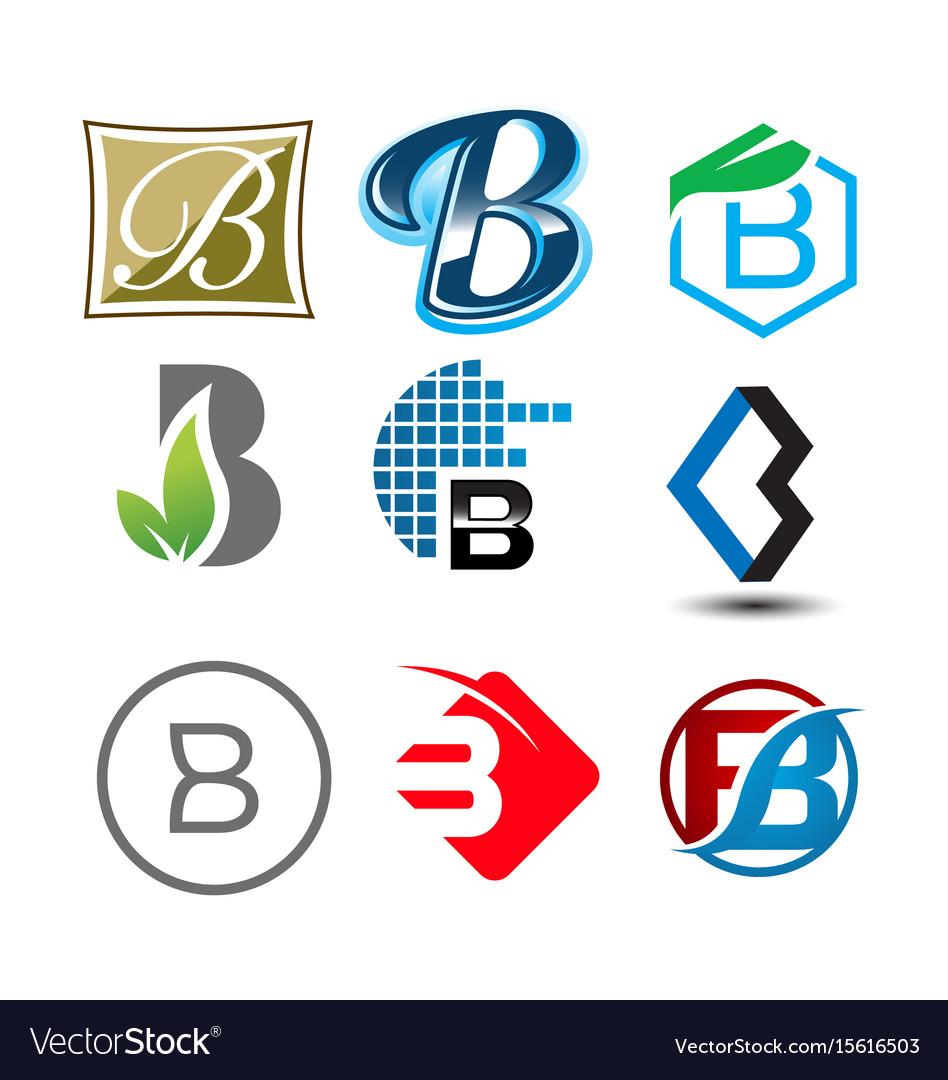Initial letter b logo pack vector image