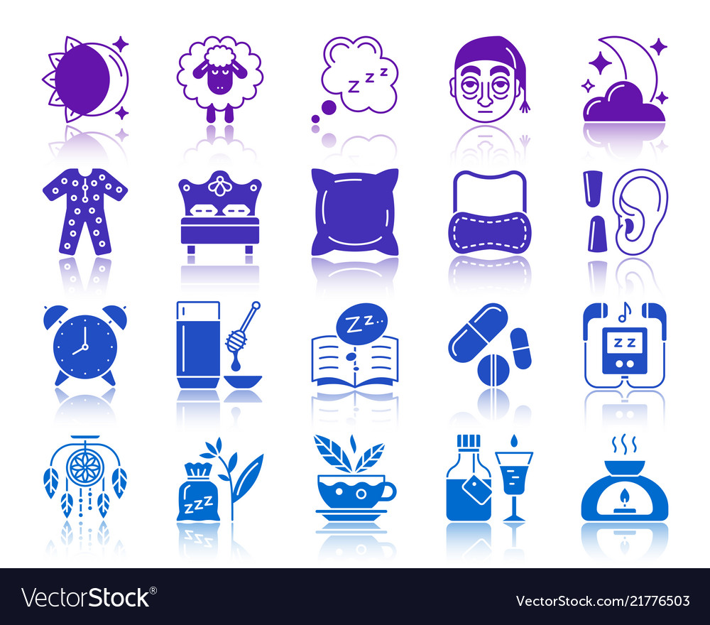Insomnia color silhouette icons set