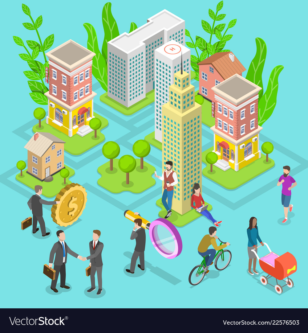 Isometric flat concept of investment in