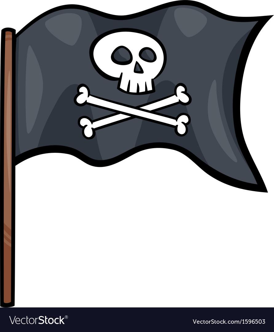 Pirate flag cartoon clip art Royalty Free Vector Image