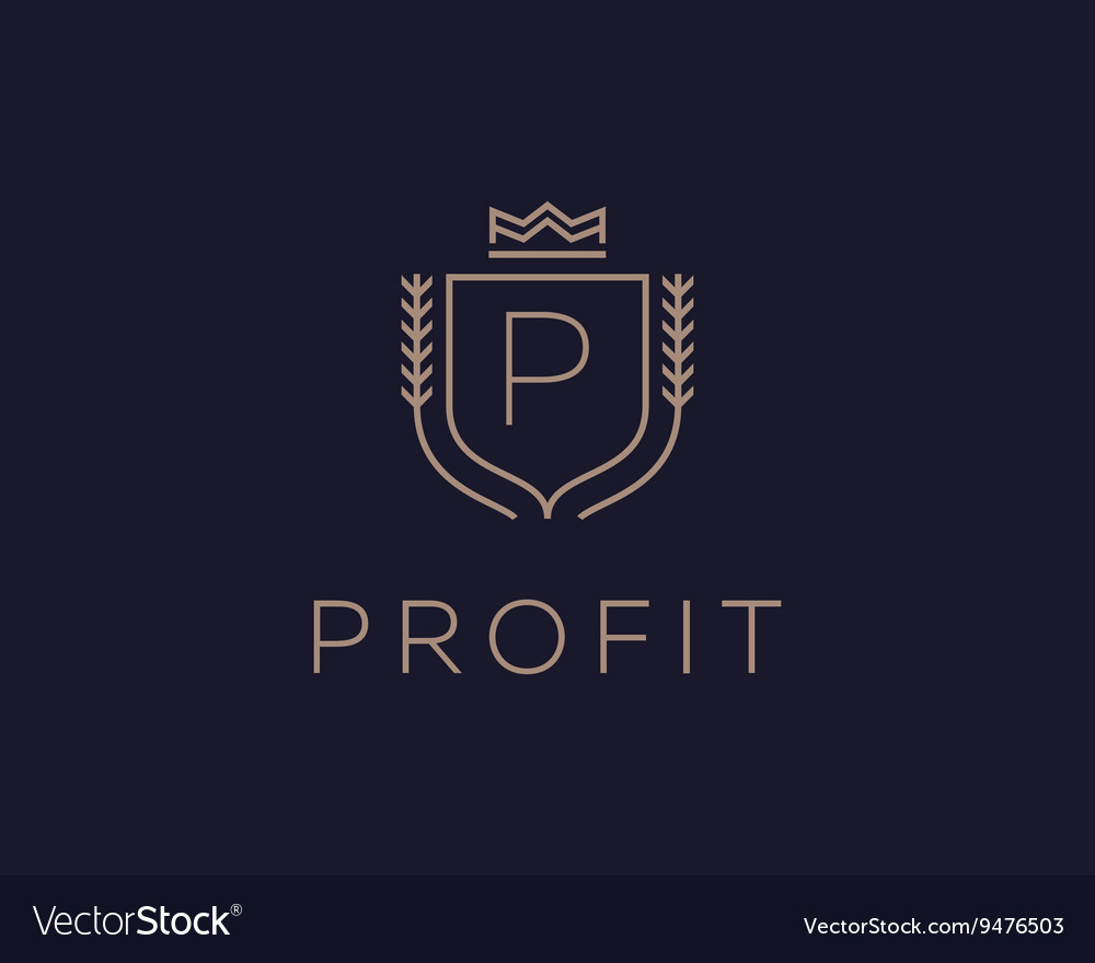Premium monogram letter P initials ornate vector image