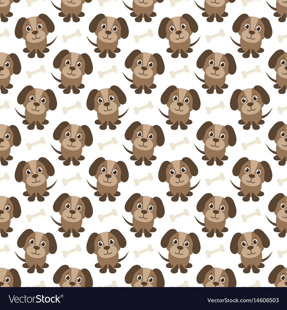 Seamless pattern with funny dogs and bones