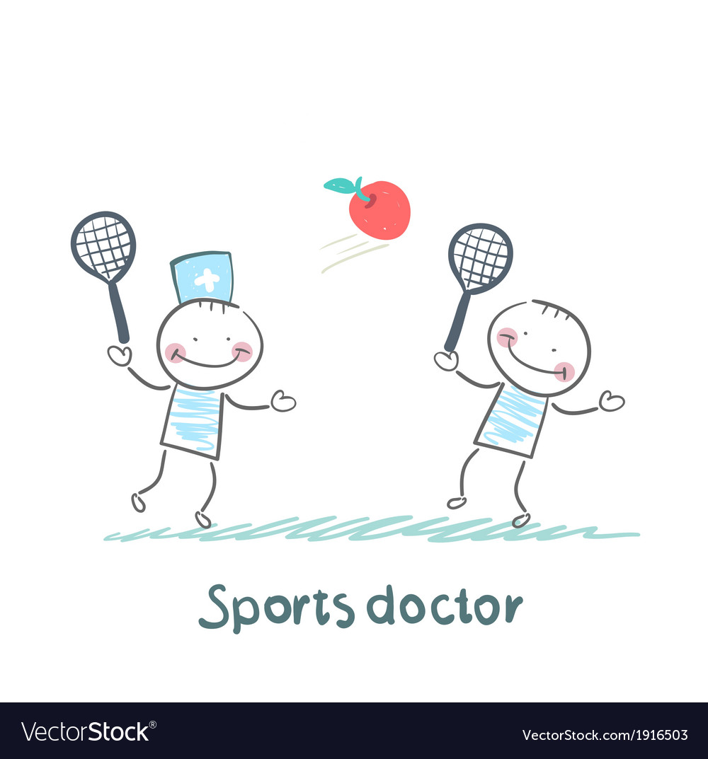Sports doctor plays with a man in badminton apple vector image
