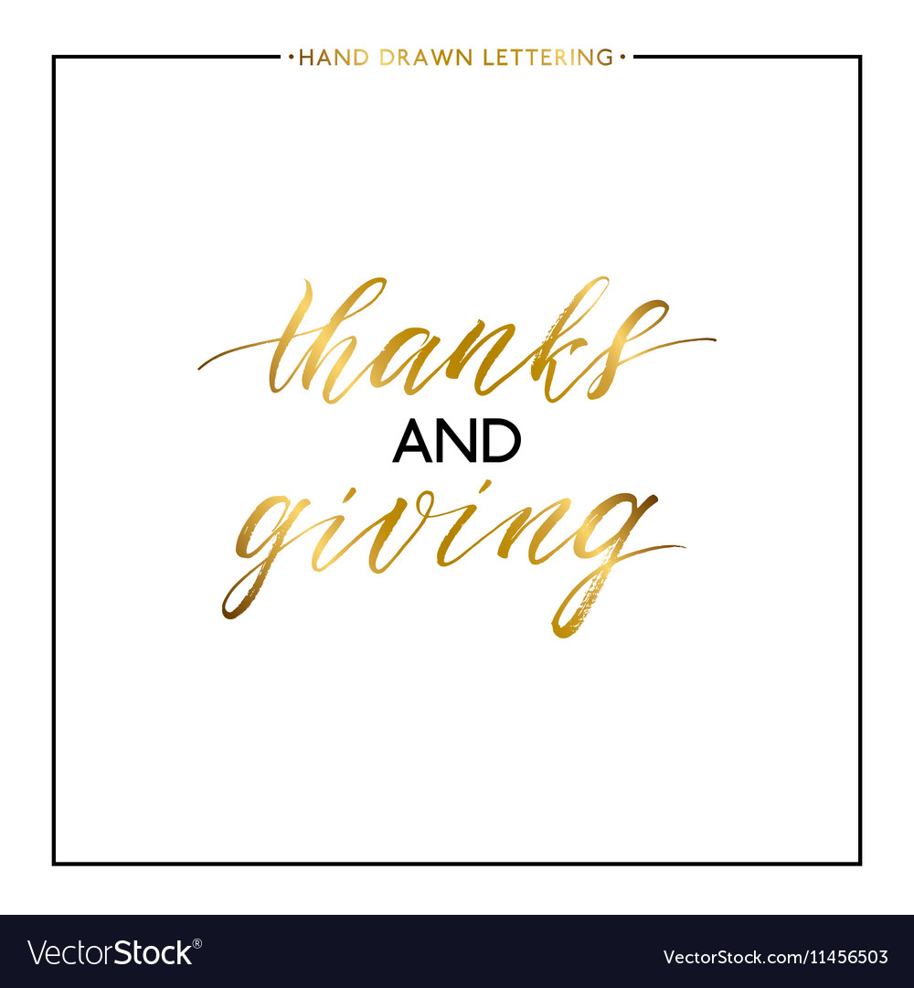 Thanks and Giving gold text isolated on white