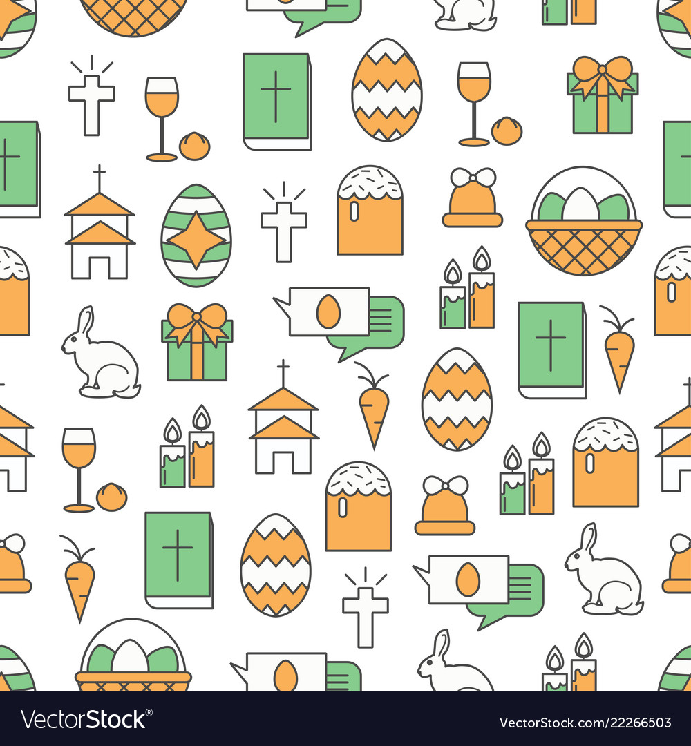 Thin line art easter seamless pattern