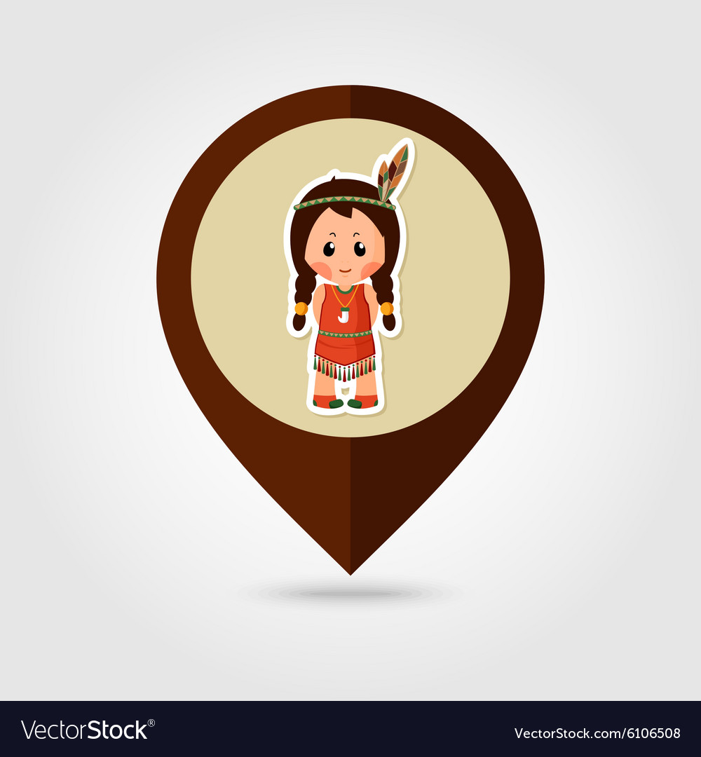 American Indian children mapping pin icon