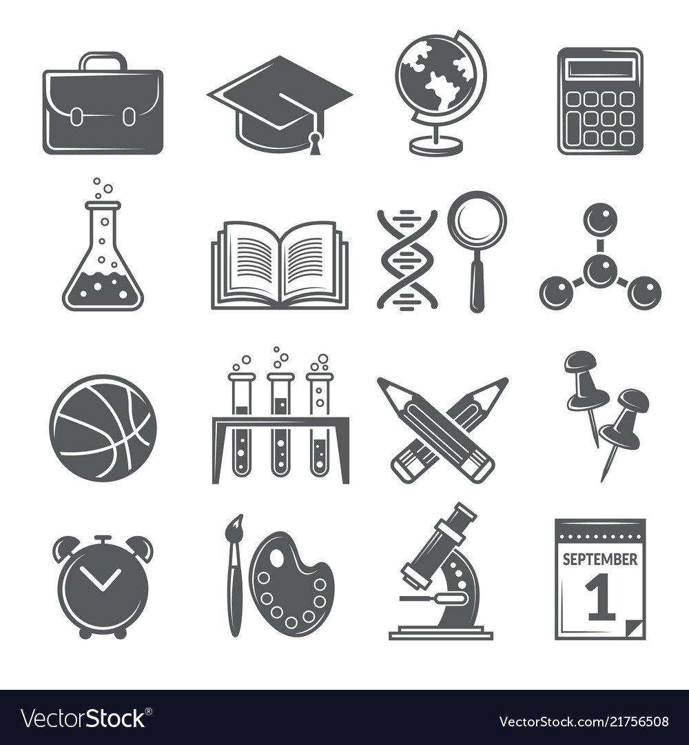 Back to school icons monochrome school symbols