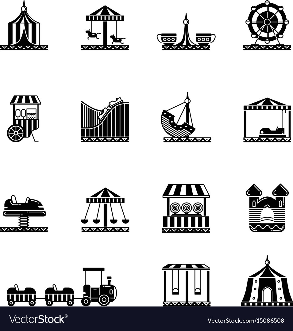 Black icon set of amusement park carousel and