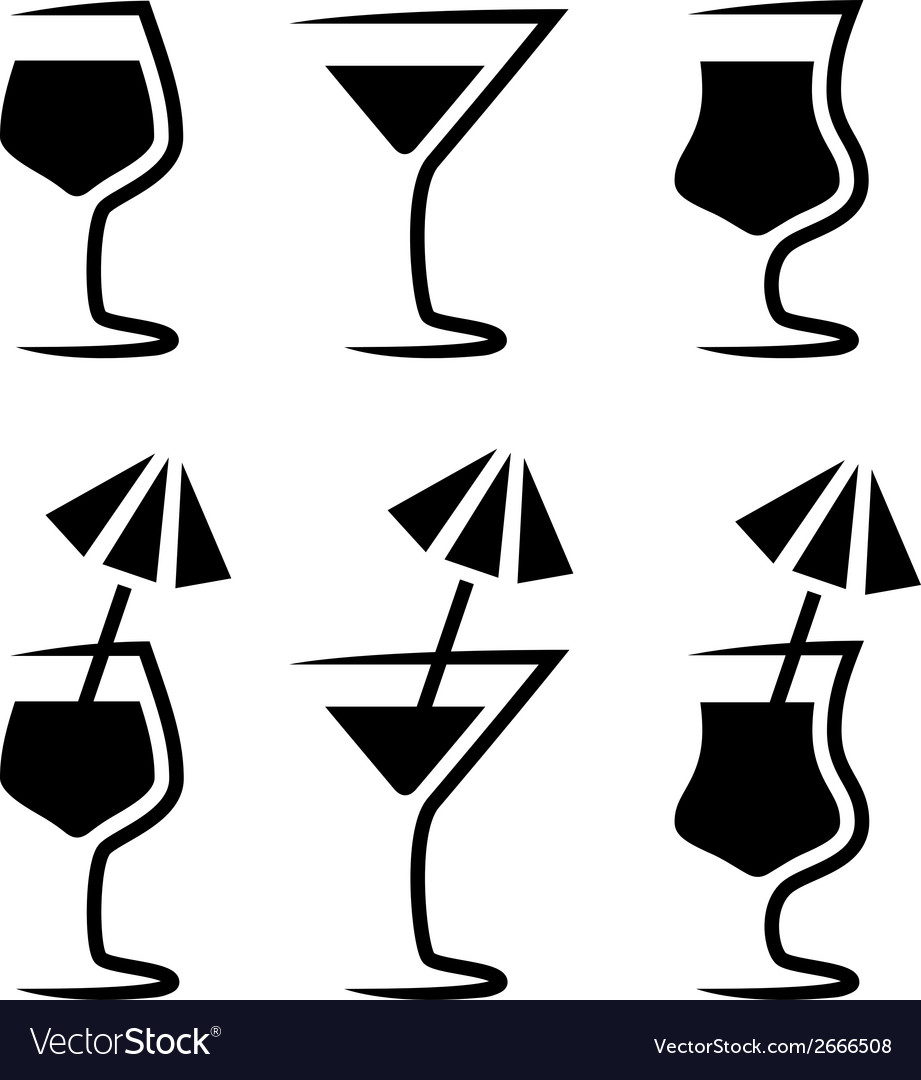 Cocktail glass silhouette with parasol