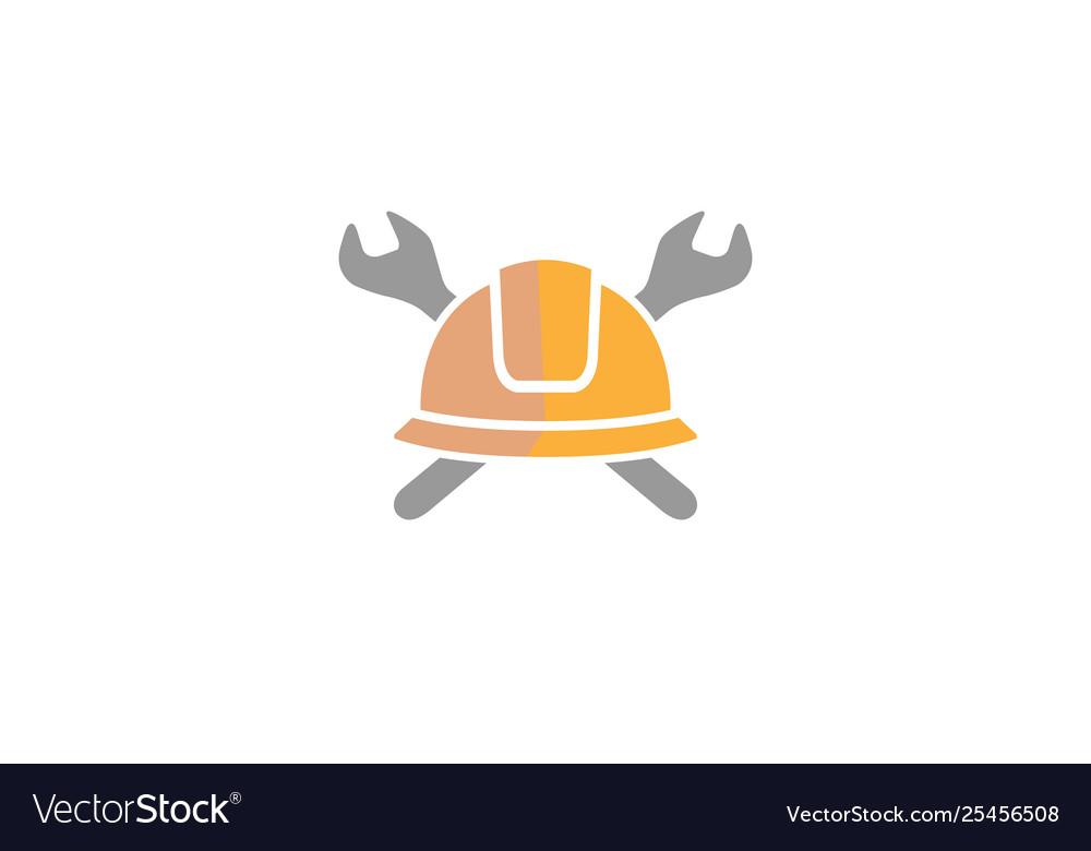 Creative helmet engineer wrench logo design
