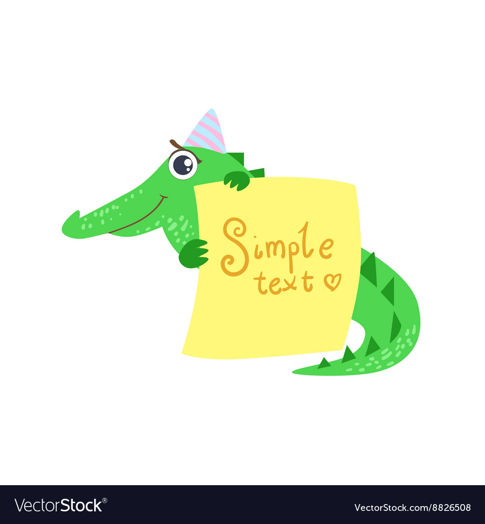 crocodile with the template for the message vector image
