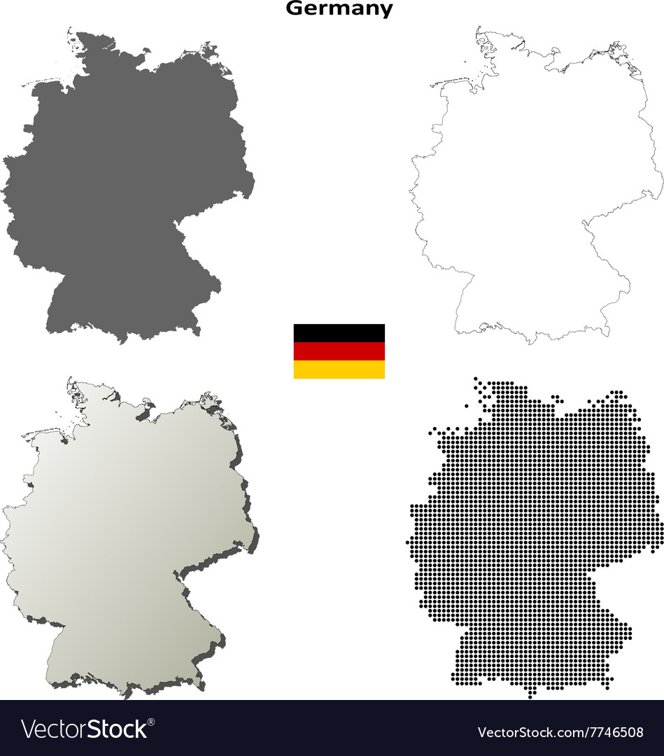 Outline Map Of Germany.Germany Outline Map Set Royalty Free Vector Image