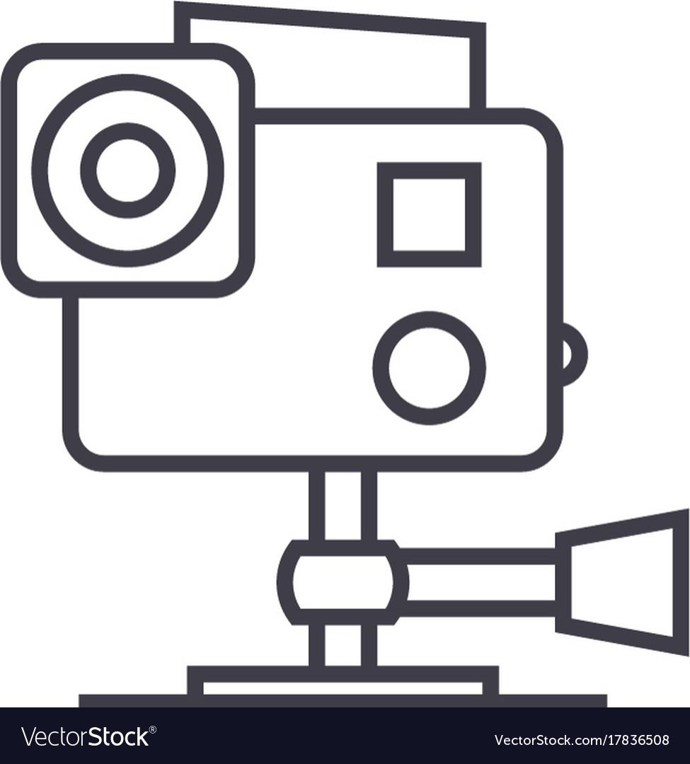 Go pro video camera line icon sign