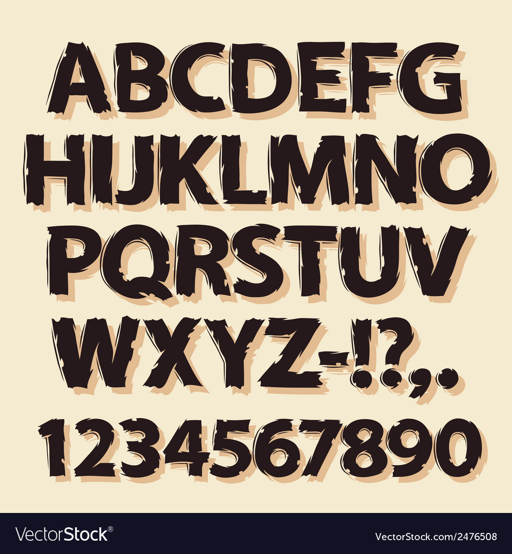 Ink Drawing Retro Alphabet Brown vector image