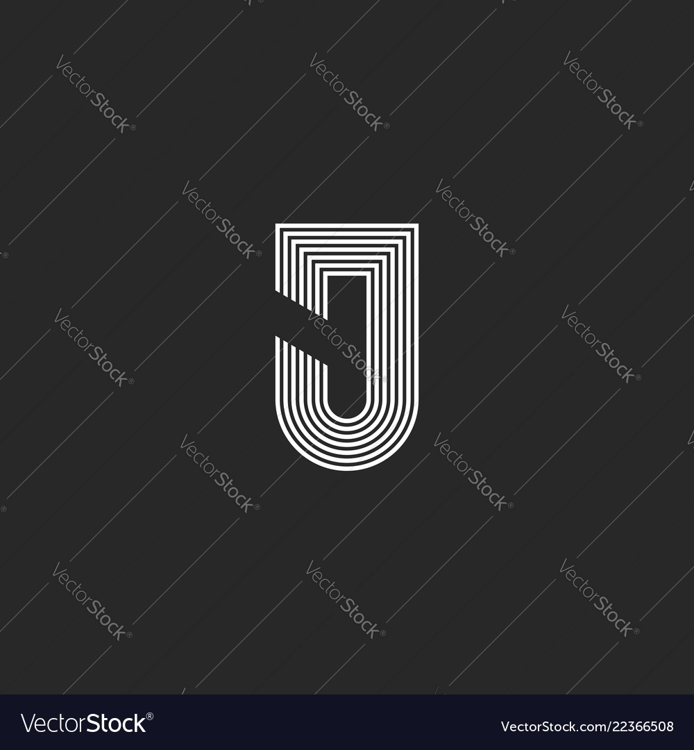 Letter j logotype monogram black and white thin