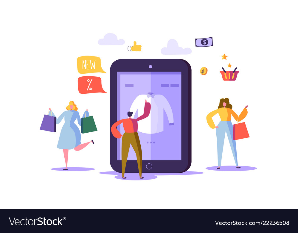 Online shopping concept with characters mobile