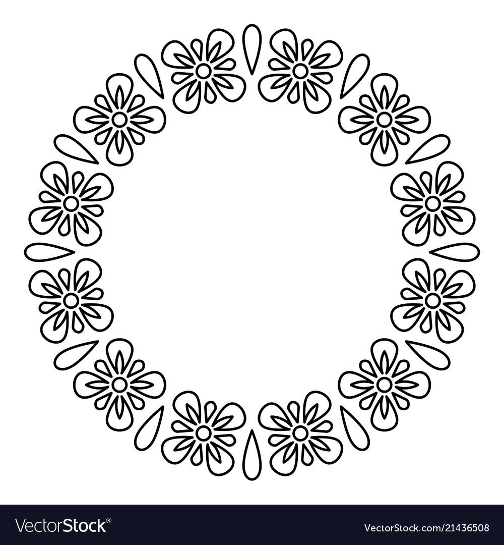 Outline flowers circle frame design monochrome