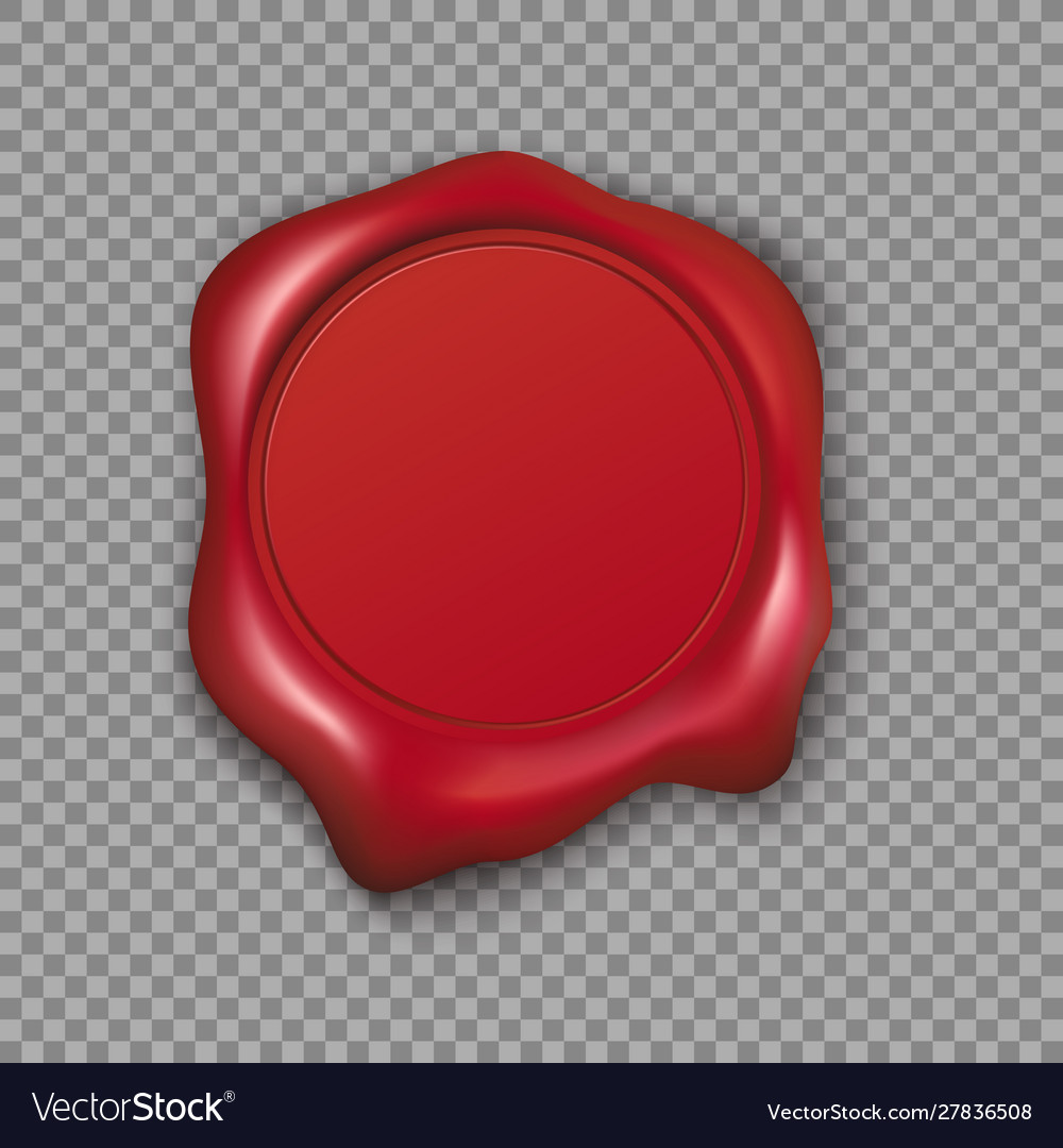 Red wax seal isolated on transparent background