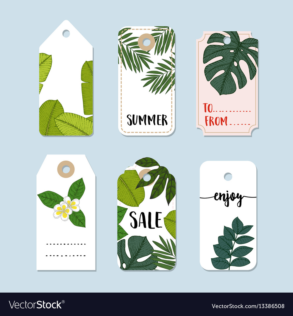 Set of hand drawn summer vintage sale labels and