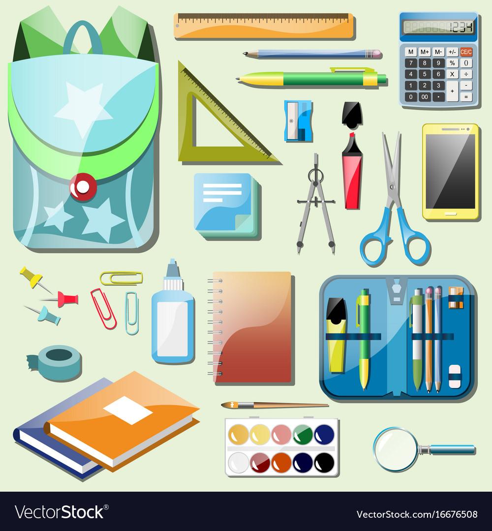Set school accessories vector image