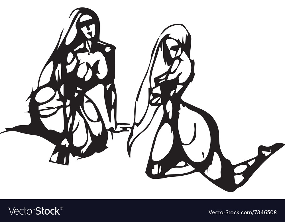Silhouettes of the Sitting Women