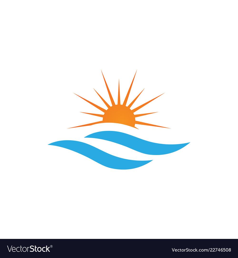 Sun over the sea graphic design template