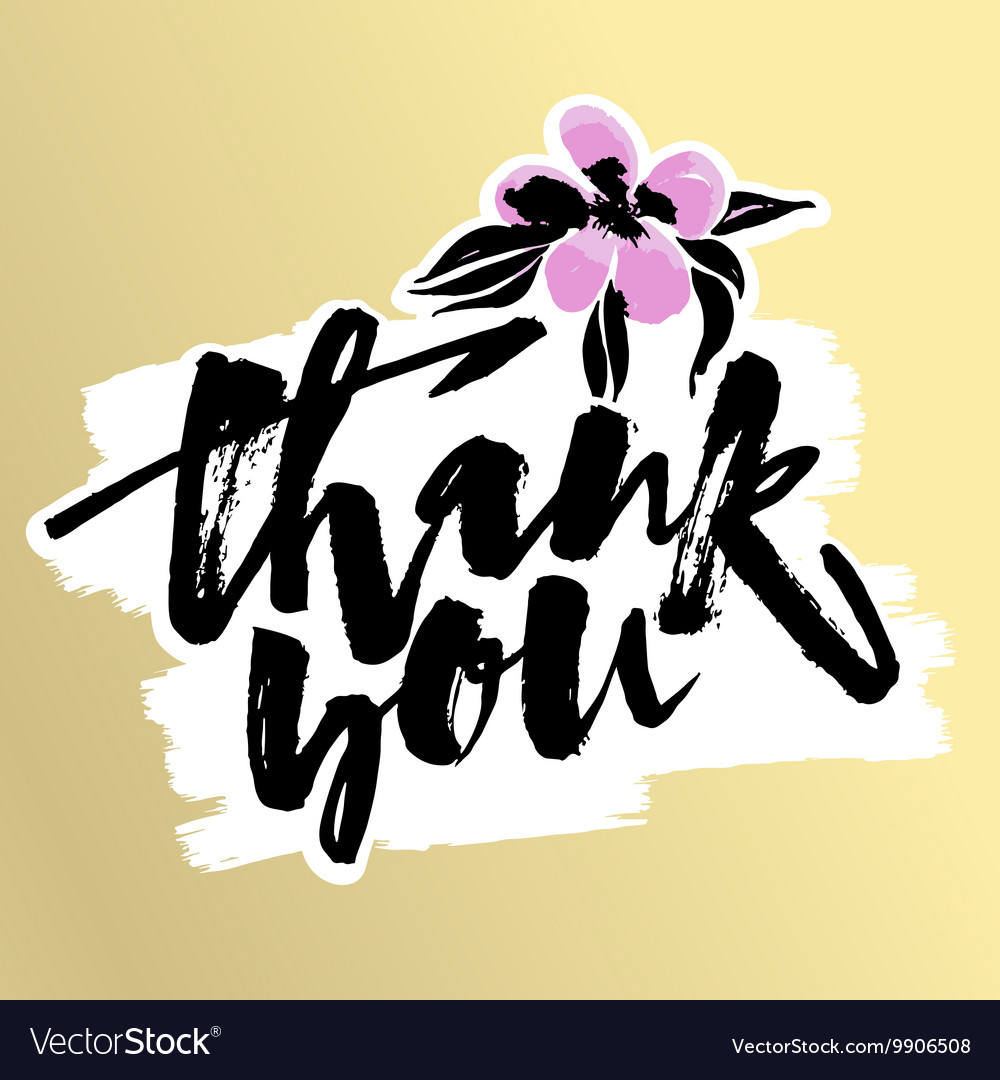 Thank You Card Hand Lettering Motivation Poster Vector Image