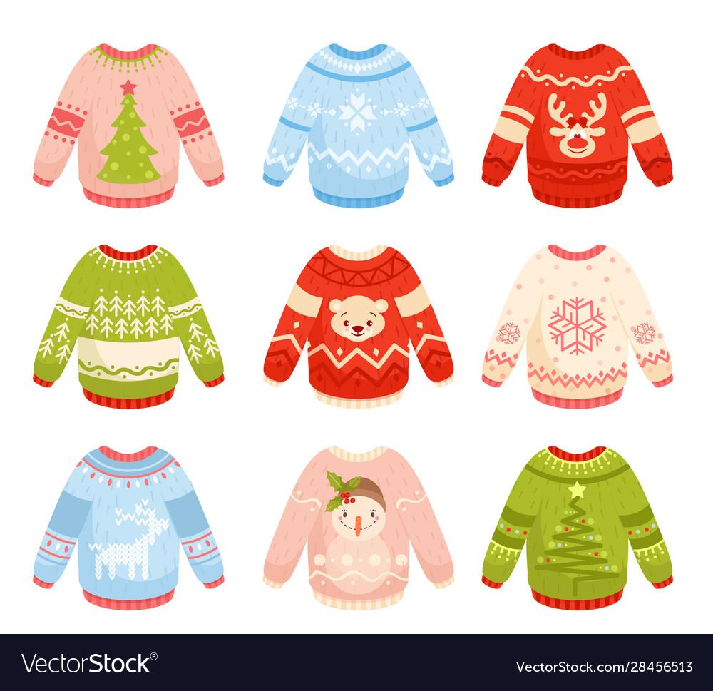 Christmas sweaters flat set