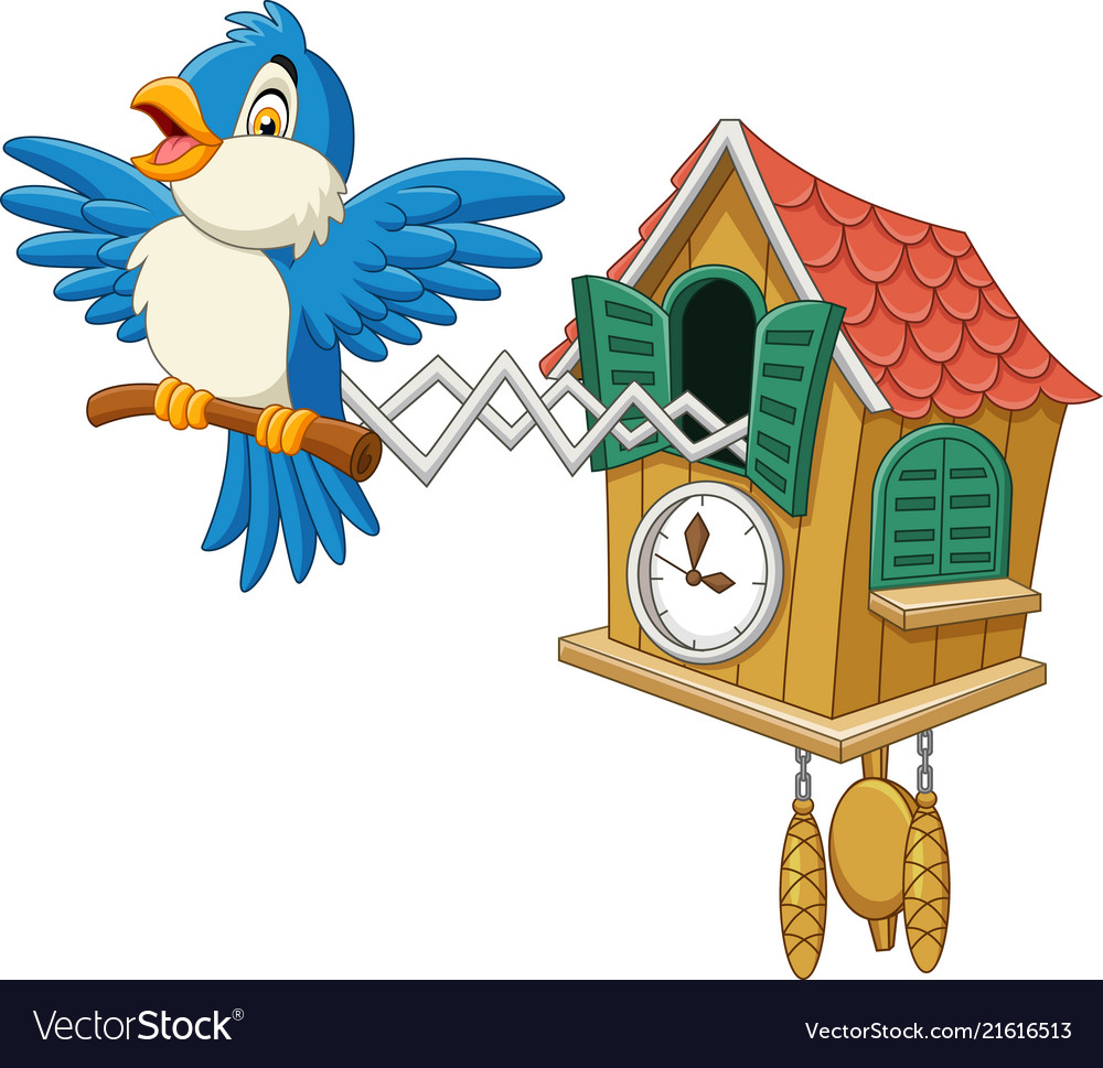 Cuckoo Clock With Blue Bird Chirping Vector Image