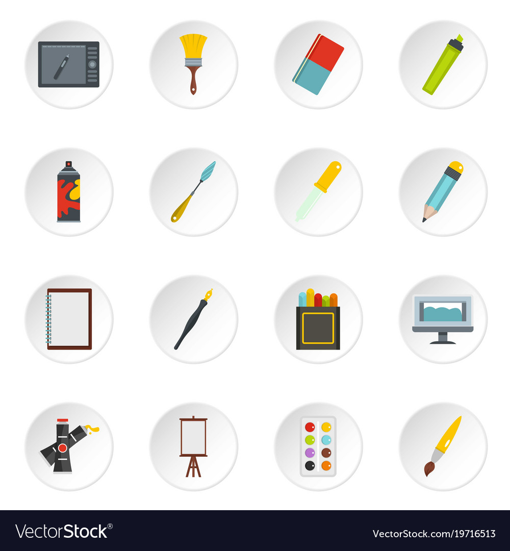 drawing tools vintage design and drawing tools icons set in flat style vector image