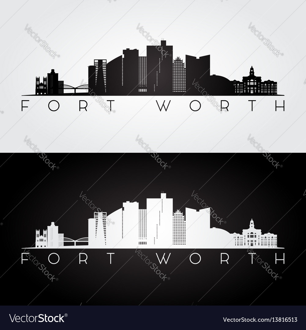 Fort worth usa skyline and landmarks silhouette
