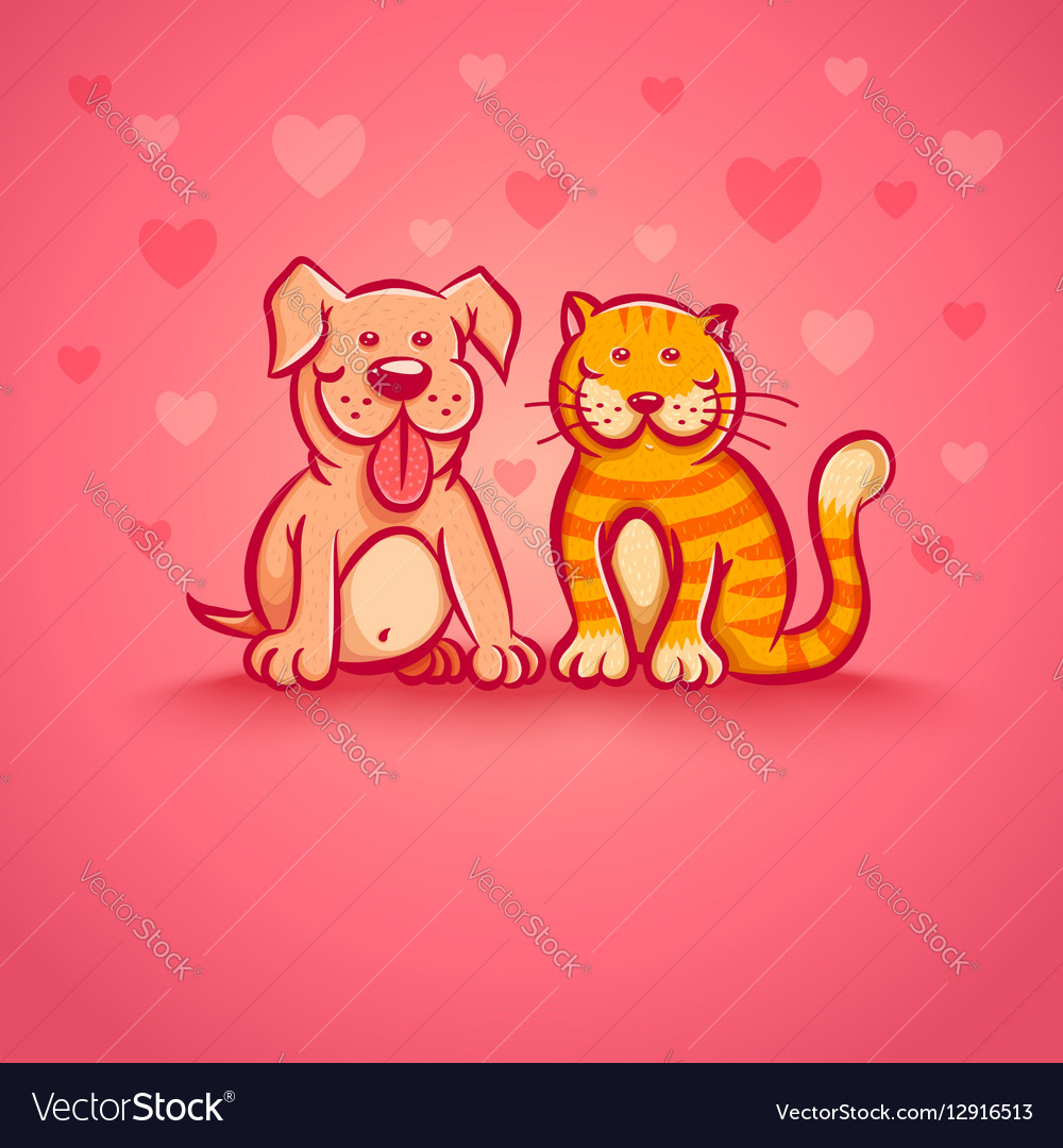 Pets pink love vector image