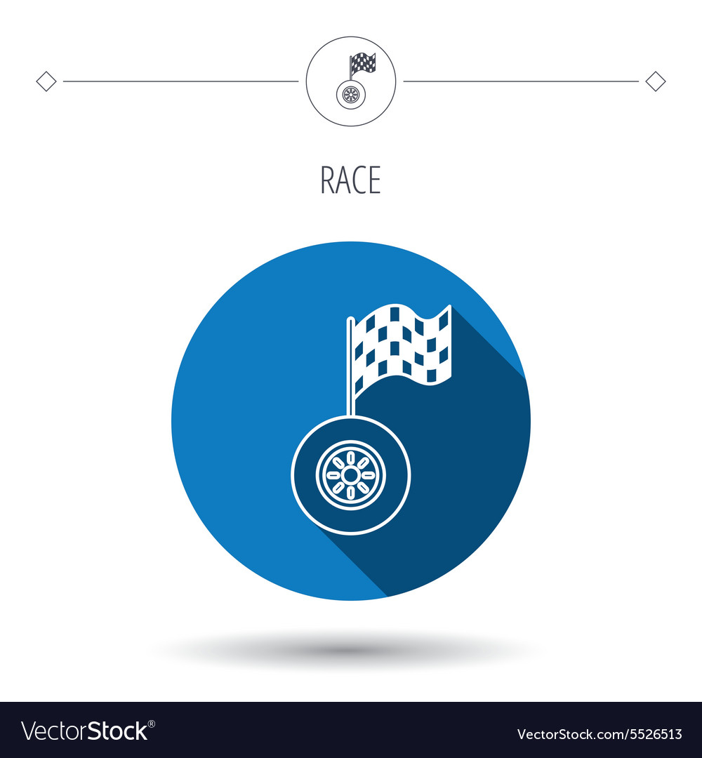 Race icon Wheel with racing flag sign