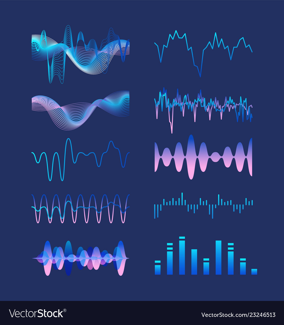 Set of various colorful sound music waves audio