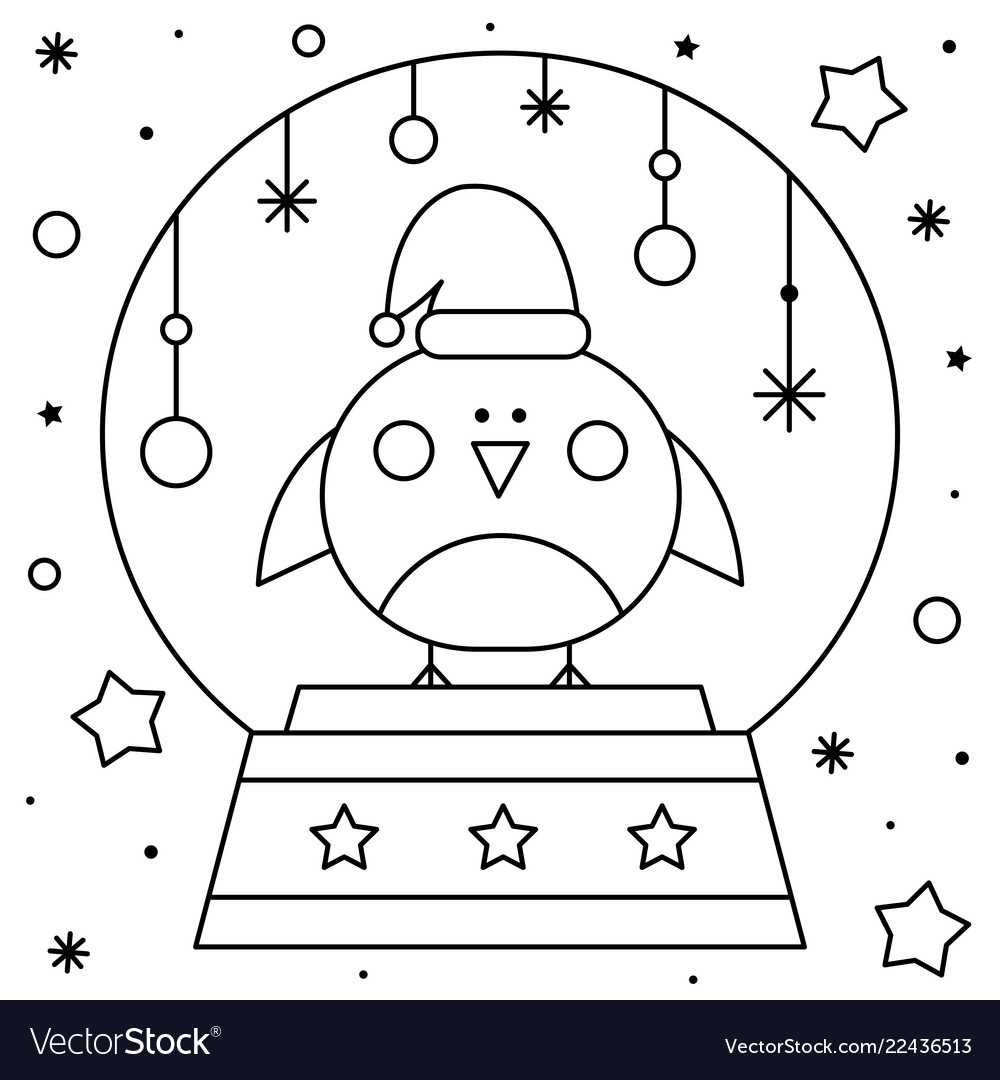 Snow globe with a bird coloring page black and