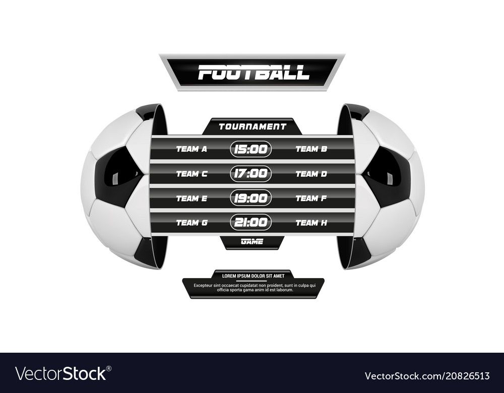 Soccer league with team competition and vector image