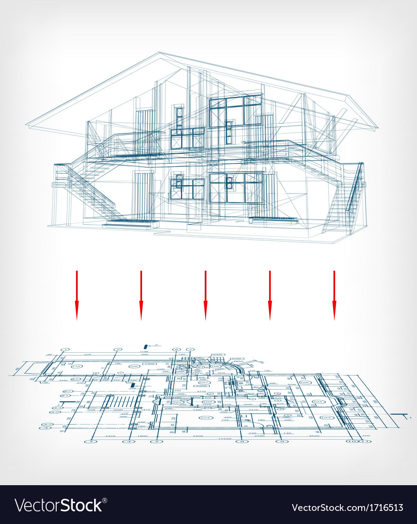 Stylized house model with floor plan royalty free vector stylized house model with floor plan vector image ccuart Image collections