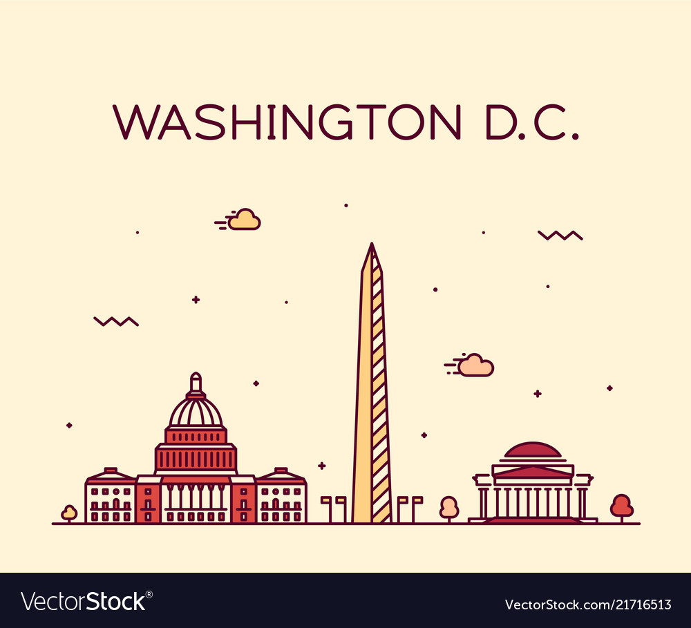 Washington d c usa linear art style city