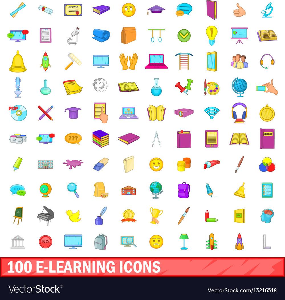100 e-learning icons set cartoon style