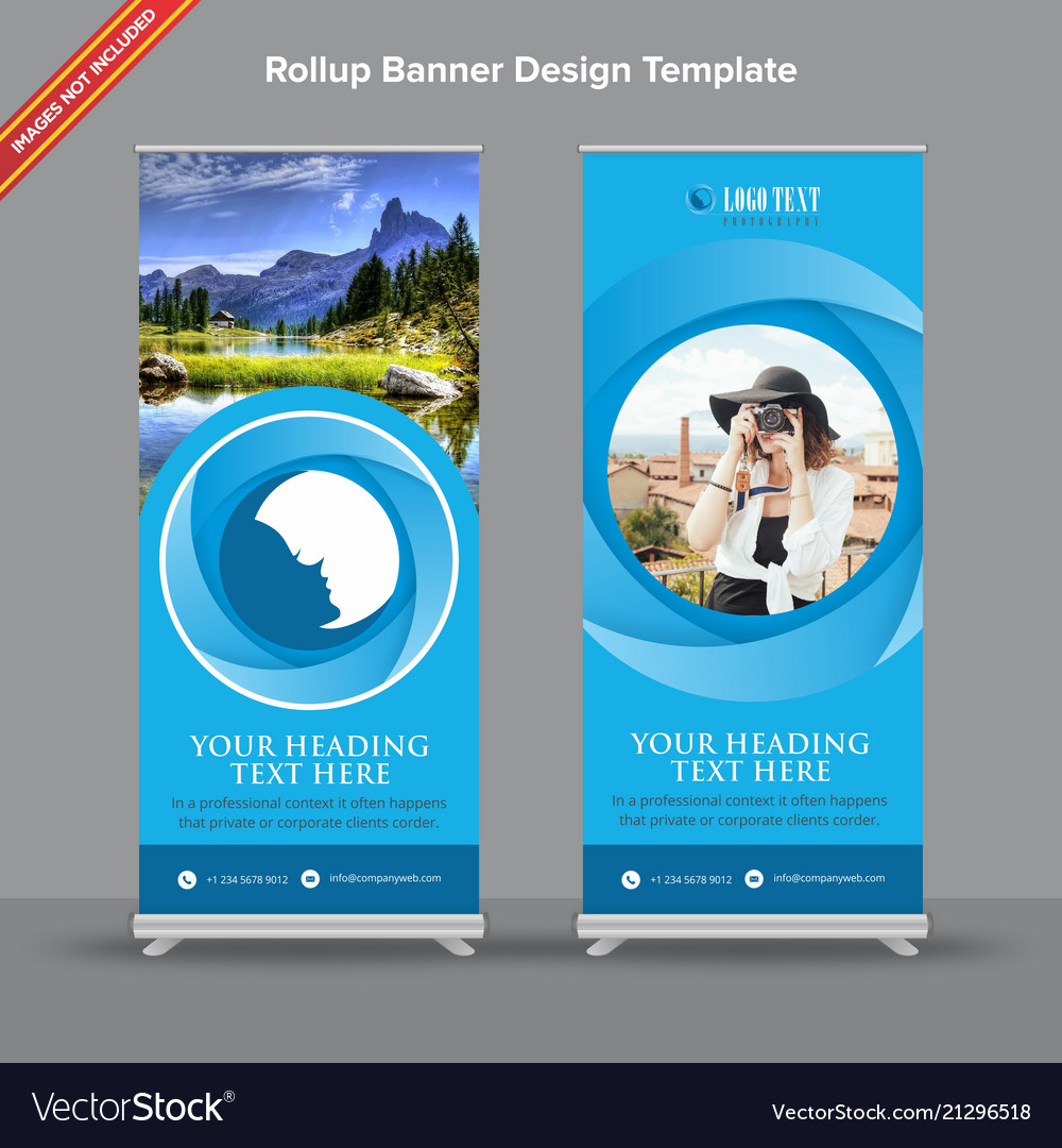 Blues shaded rollup banner design with circular
