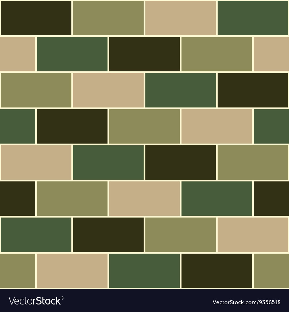 Camouflage Green Brick Wall