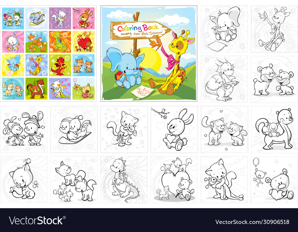 Coloring book - cute animals collection