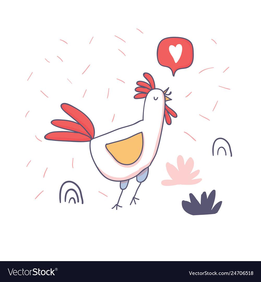 Cute cartoon rooster with love emoji doodle