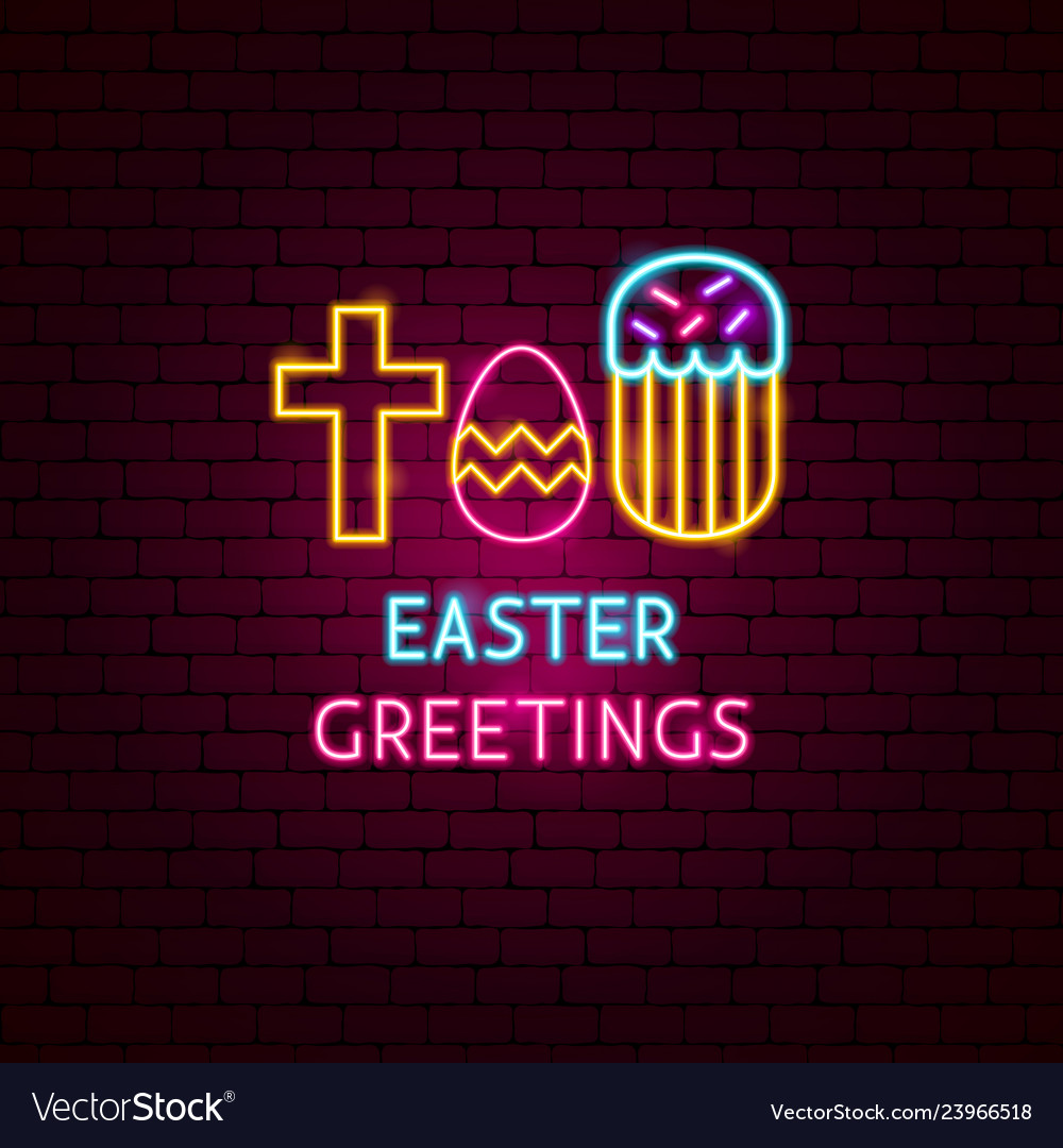 Easter greetings neon label