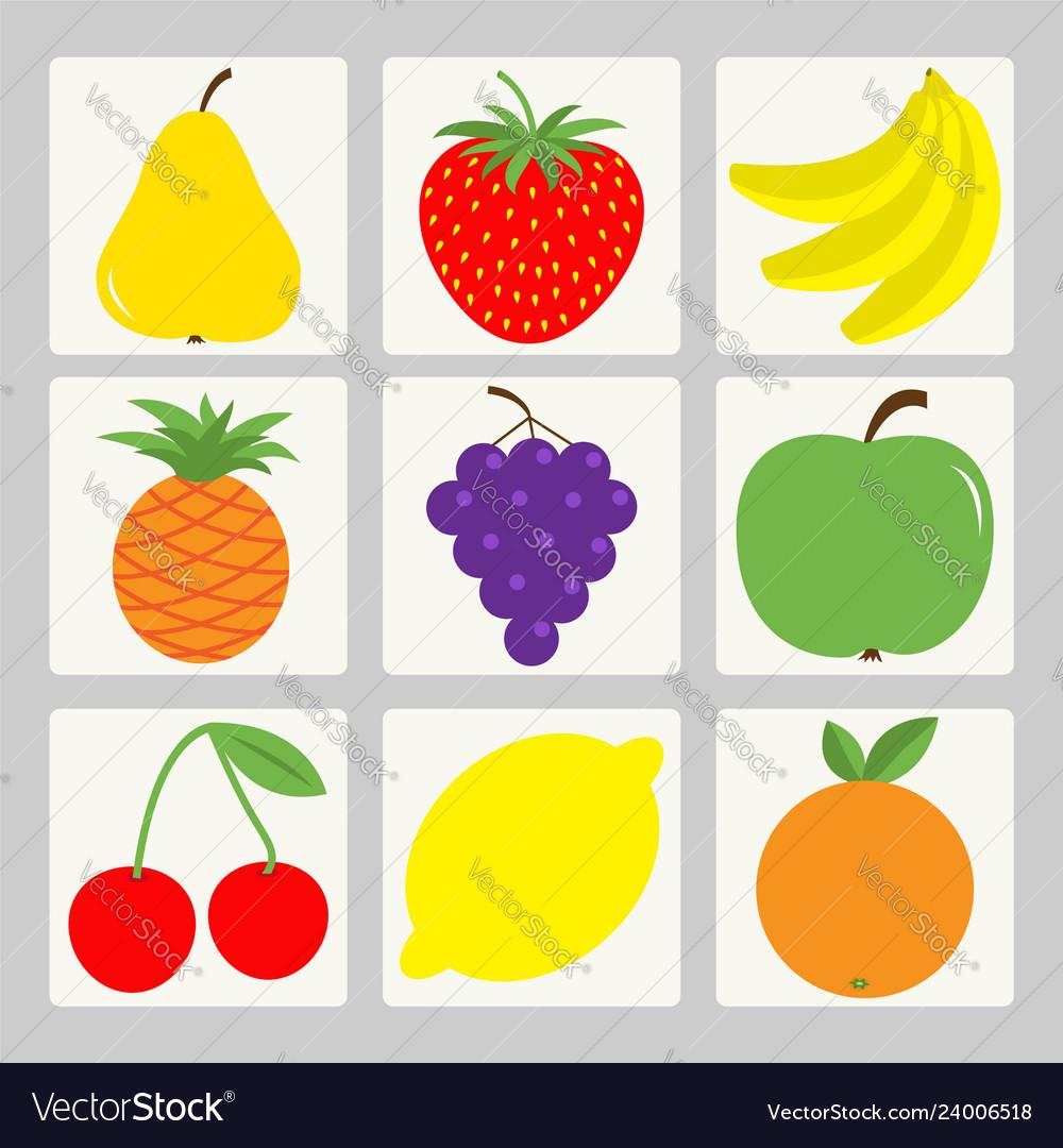 Fruit berry icon set square shape pear strawberry